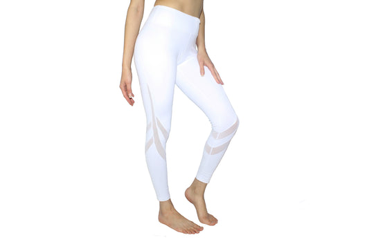 YOBABY APPAREL Double Mesh Bands Yoga Leggings (WHITE/BLACK) - Yobaby Apparel