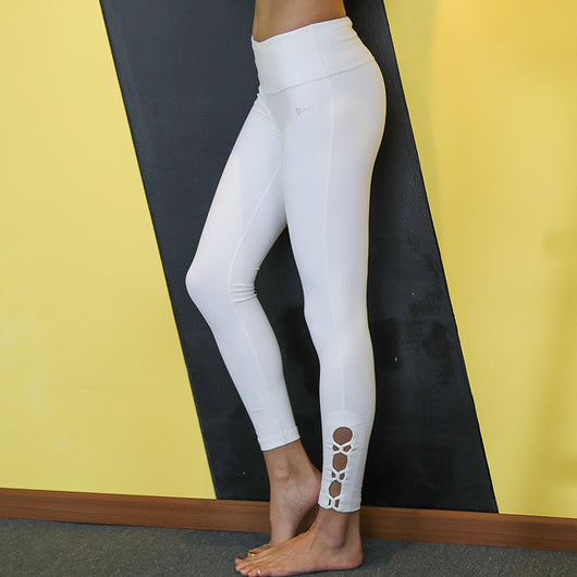 White Ankle Binding Yoga Tights  - Angel's Wing - Yobaby Apparel