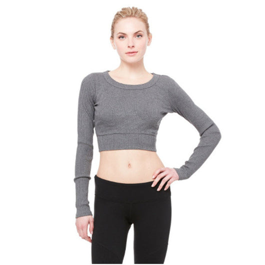 Slim Fit Ballerina Long Sleeve Crop Top - Grey - Yobaby Apparel