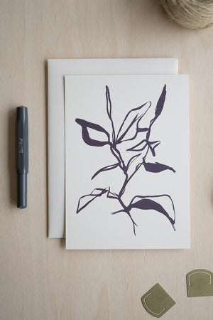 Plant Study Art Card (Dark Navy)