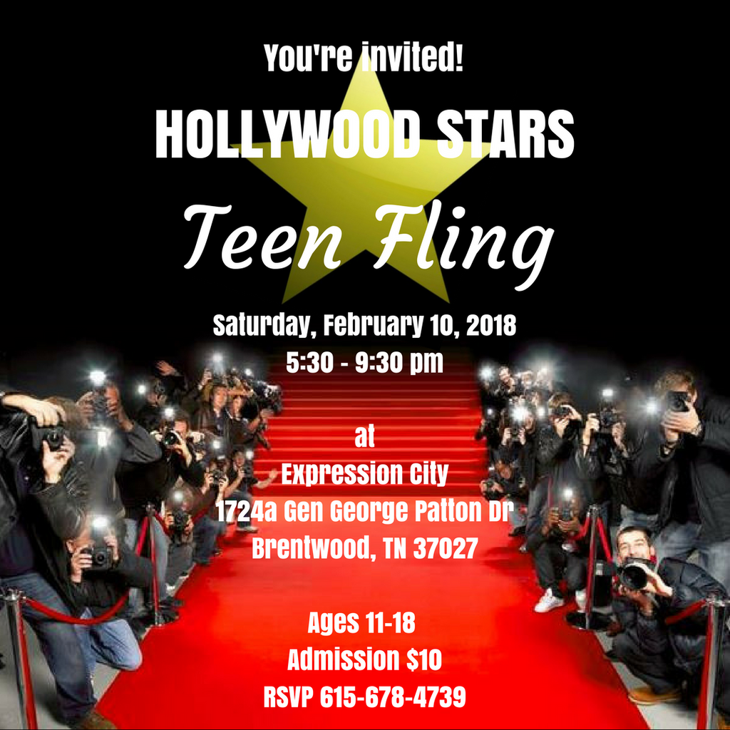 Hollywood Stars Teen Fling February 10th 5:30 - 9:30 pm