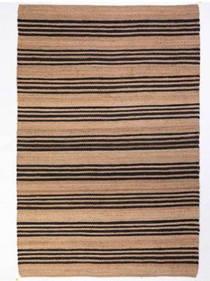 Hemp HandWoven Rug _ Stripe: Carbon - HummingHaus