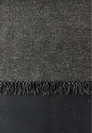 Bamboo Silk Fringe Rug  _ Natural Black