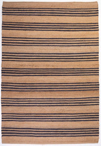 Hemp HandWoven Rug _ Stripe: Denim