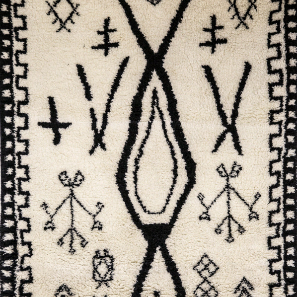 Black & White New Zealand Wool Handknotted