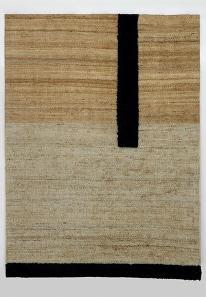 Hemp & Wool Hand knotted Carpet_Linear Natural & Black