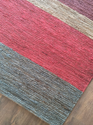 Hemp HandWoven Rug _  Multi Braided Stripe