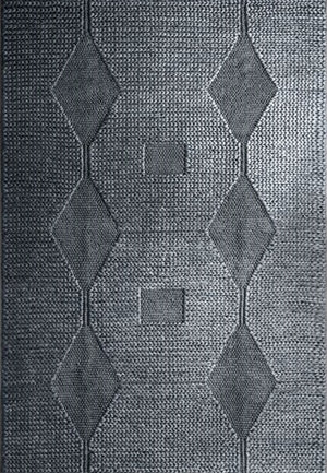 Hemp Hand Woven Rug _ Knot & Loop Diamond Grey