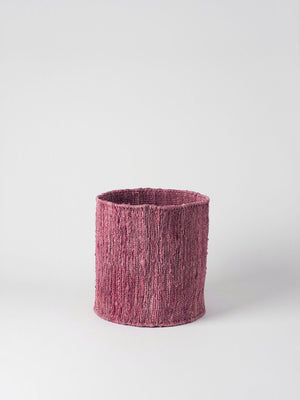 HEMP HANDWOVEN PINK ROUND - STORAGE BASKETS