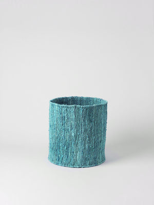 HEMP HANDWOVEN AQUA ROUND - STORAGE BASKETS