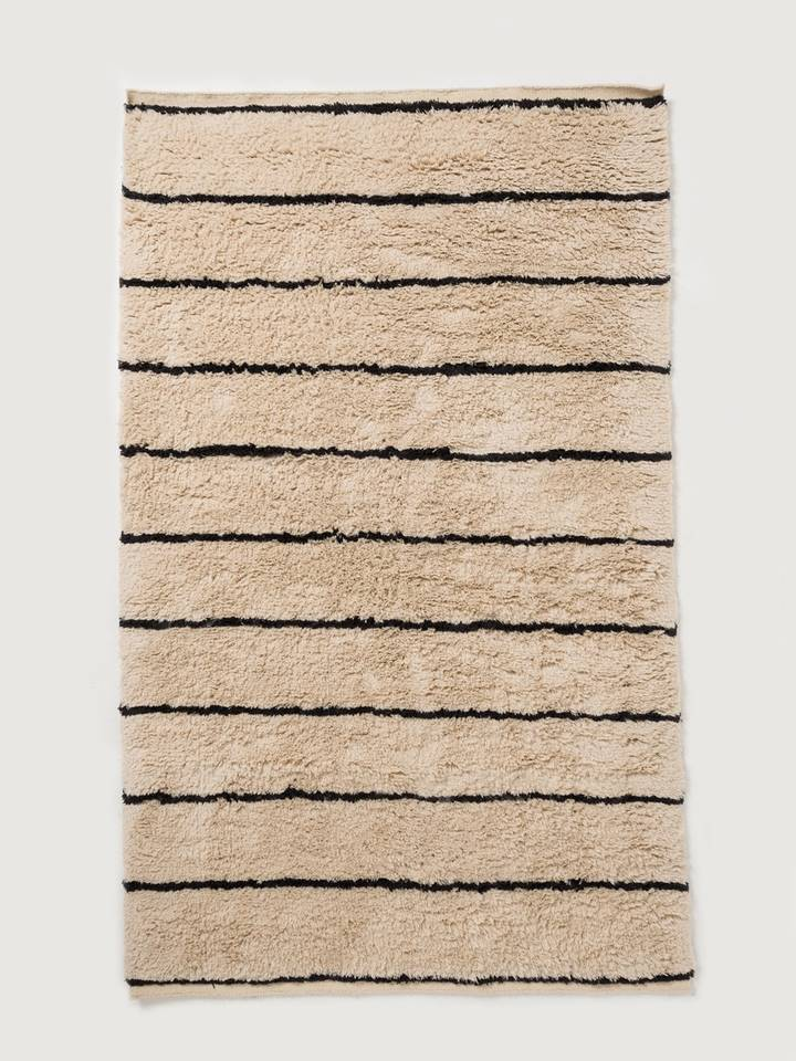 Wool HandKnotted Carpet_Moroccan Stripes - HummingHaus
