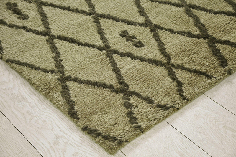 Wool Hand Knotted Moroccan Carpet_Juniper Olive Beni
