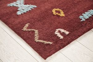 Wool Hand Knotted Moroccan Carpet-Juniper Maroon Shape