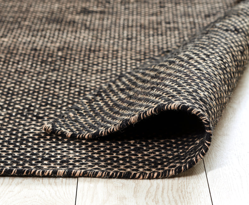 Woolen Handwoven Dhurry _Gage Black
