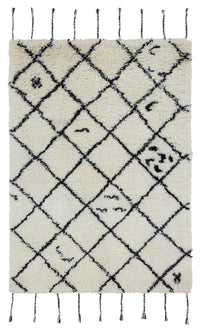 Wool HandTufted Carpet - Cross White /Black
