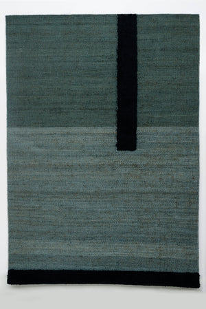 Hemp & Wool Hand knotted Carpet_Linear Grey