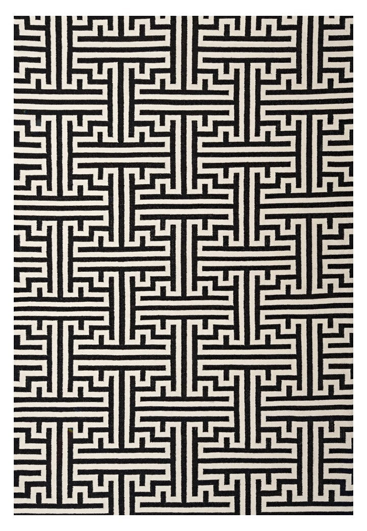 Wool HandTufted Carpet _ Maze Black & White