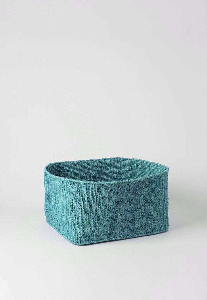 HEMP HANDWOVEN AQUA RECTANGULAR -STORAGE BASKETS