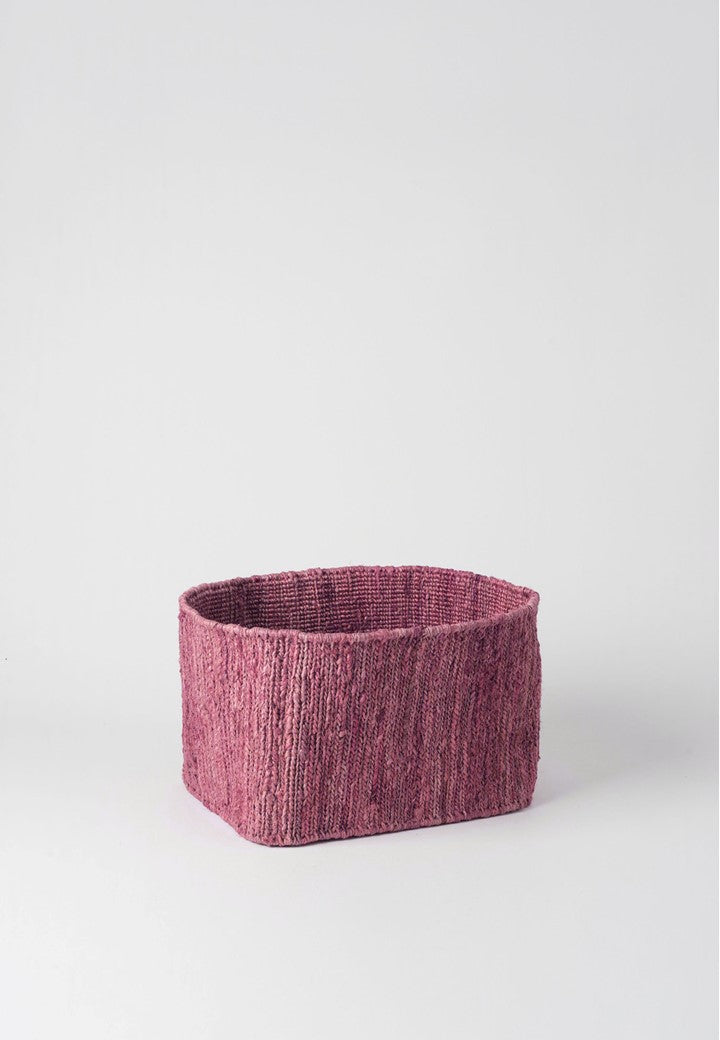 HEMP HANDWOVEN PINK RECTANGULAR -STORAGE BASKETS