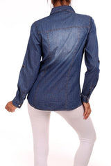 Long sleeve chambray denim top
