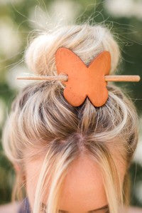 Genuine leather butterfly bun wrap.