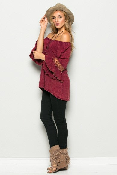 Off shoulder washed bell sleeves, lace tunic top.