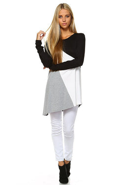 Cute, 3 color block asymmetric shirt