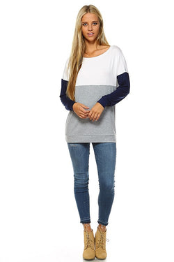 T-shirt, long sleeve 3 color color block top.