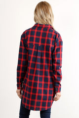 Long sleeve buffalo plaid button down tunic.