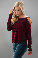 Stripe Cold Shoulder Sweater Top.