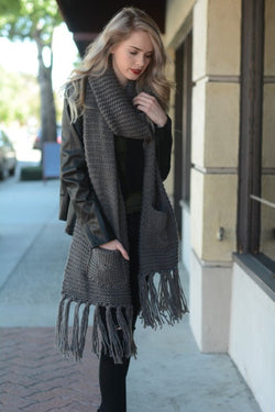 Two pocket oversized tassel scarf.