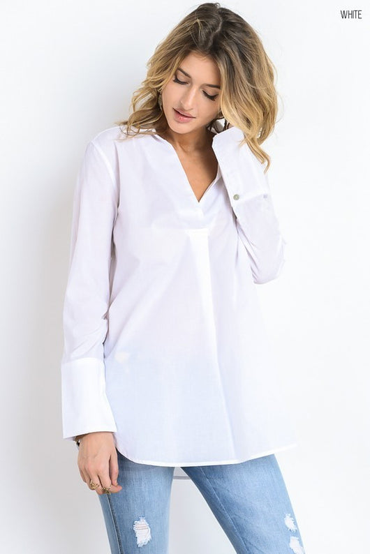 Split neck long sleeve white  blouse.