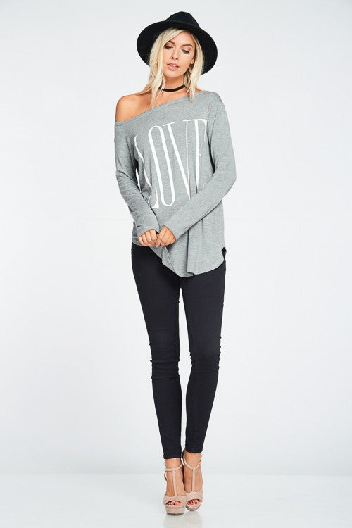 Long sleeves off shoulder tunic