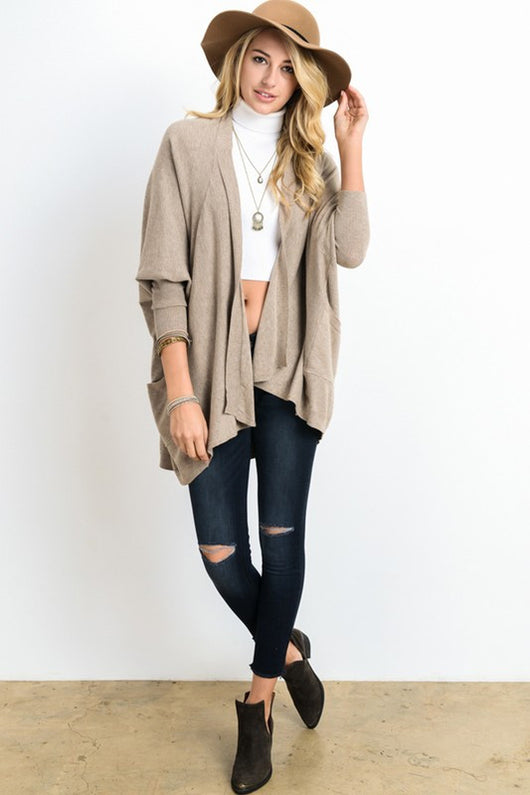 Dolman long sleeve open cardigan.