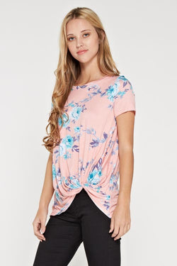 Short sleeve floral print love me knot top