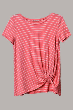 Striped short sleeve love me knot top