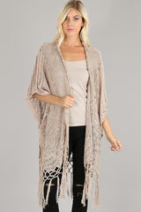 Open knitted fringed cardigan