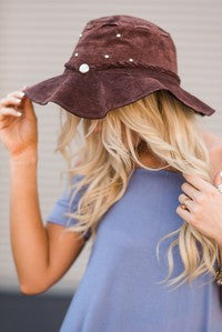 Sueded leather gypsy style floppy hat