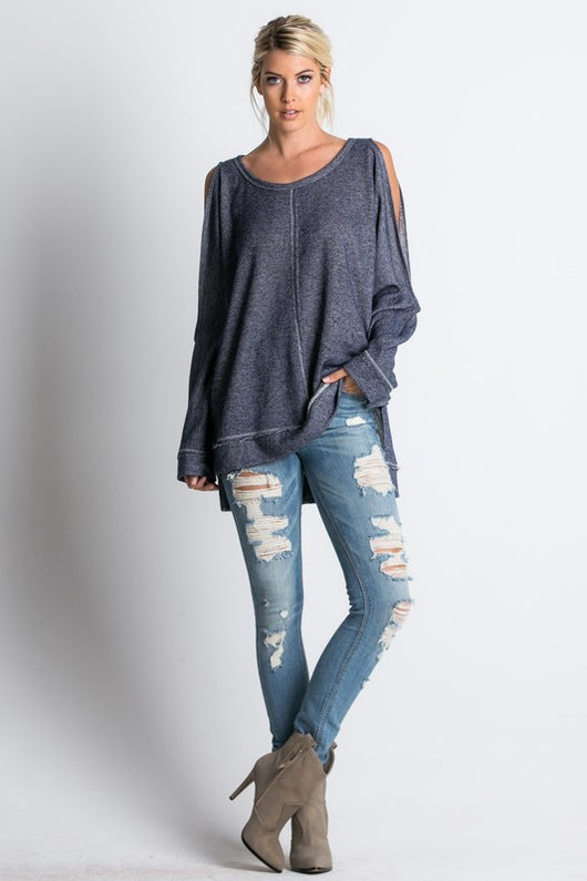 Long sleeve cold shoulder high-low  top