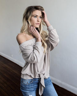 Off the shoulder tie knit top