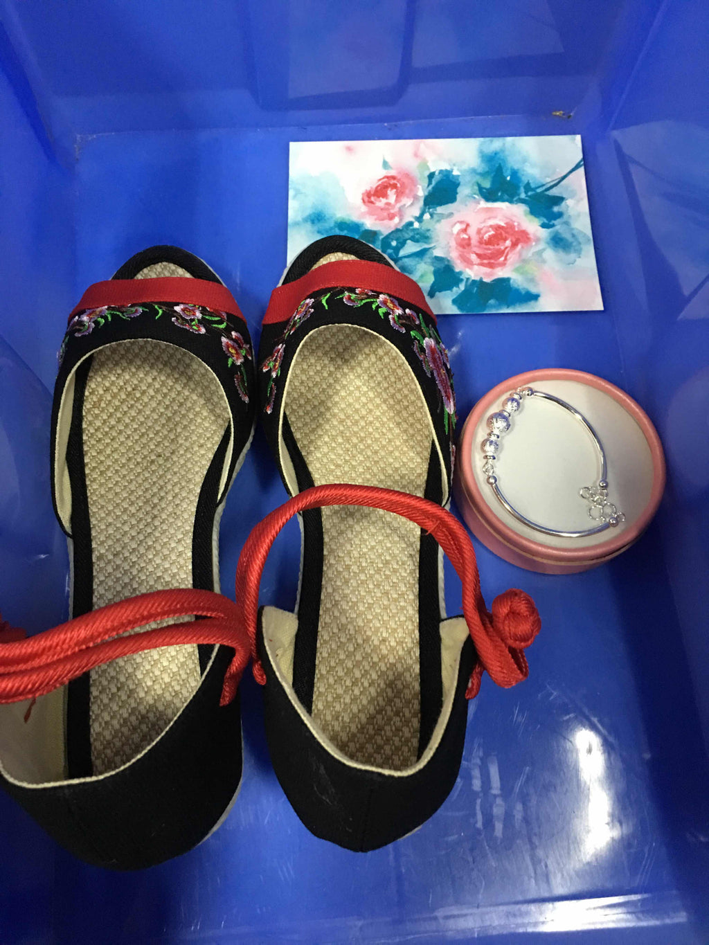 US1140,CK00049,Cute Chinese Embroidered  Flower Casual Flat Slipper High Heels