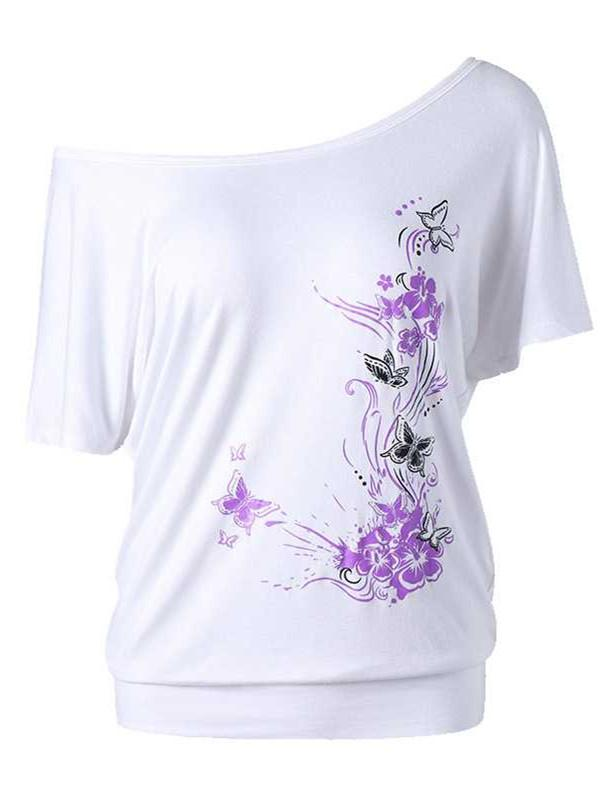 Elegant Printed Bat Sleeve Tops S-5XL