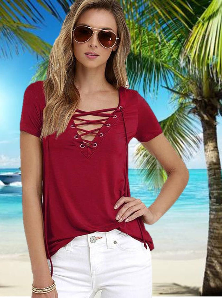 Women Bandage V-Neck Short Sleeve Tops T Shirt CK01145 Wine Red