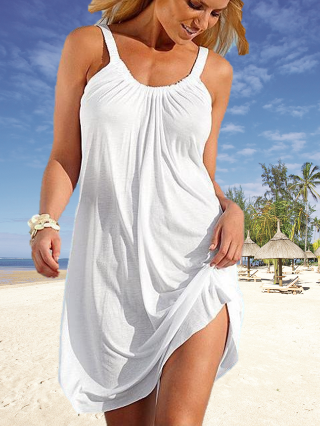 Women Summer Casual Evening Party Loose Beach Dress Short White Mini Dress