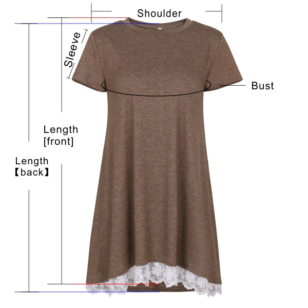 Women's Short Sleeve O-neck Lace Stitching Tops Tunics