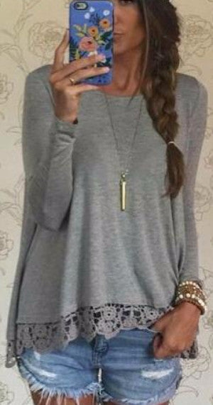 Lace long sleeves loose T-shirt blouse