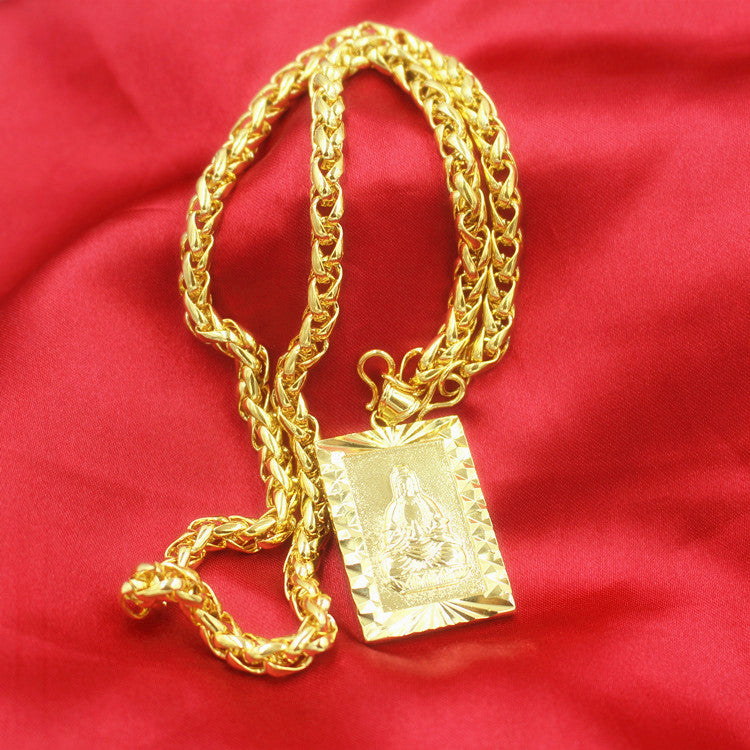 Fashion 24K Gilt Necklace Wealth Fortune Lucky Pendant Type4