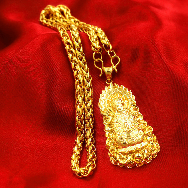 Fashion 24K Gilt Necklace Wealth Fortune Lucky Pendant Type1