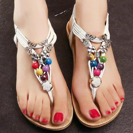 Women Flat Shoes Summer Women Sandals Perfect Present SIZE US4-US9 White