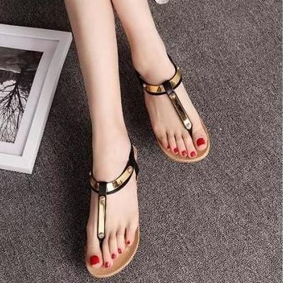 Women Flat Shoes Summer Women Sandals SIZE US4-US9 Black